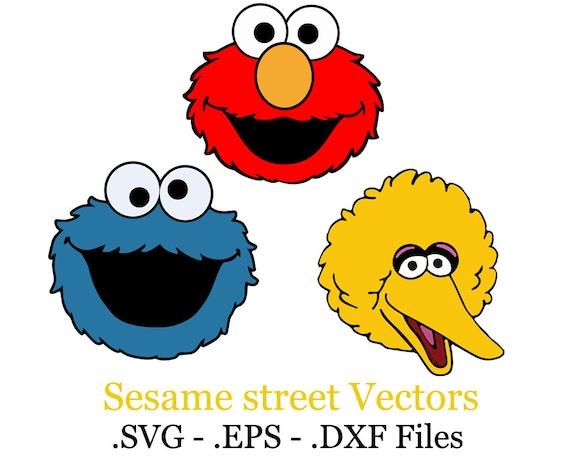 Big Bird Cookie Monster Elmo Sesame Street Set Vector Files Eps Svg Dxf