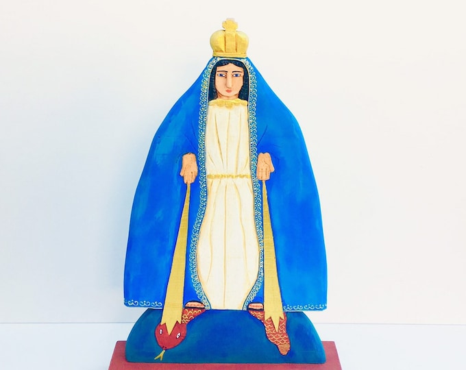 Serie Papelon Virgen Milagrosa - Miraculous Virgin Handmade and paint by Venezuelan artist. 17 Inches