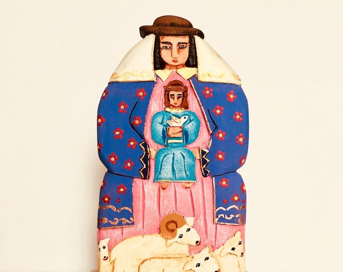 Virgen de la Divina Pastora/ The Divine Shepherdess  hand carved in  Wood and  hand-painted Venezuelan Artist Aprox 9.5 inches
