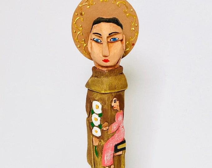 Saint Anthony -  Wooden Hand Carved Handmade and paint by Venezuelan artist.Palito.