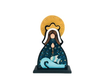 """Wooden Virgin Mary  """"Virgen del Valle""""  hand painted with pointillism technique from Venezuelan Artist.  Aprox 8 inches"""