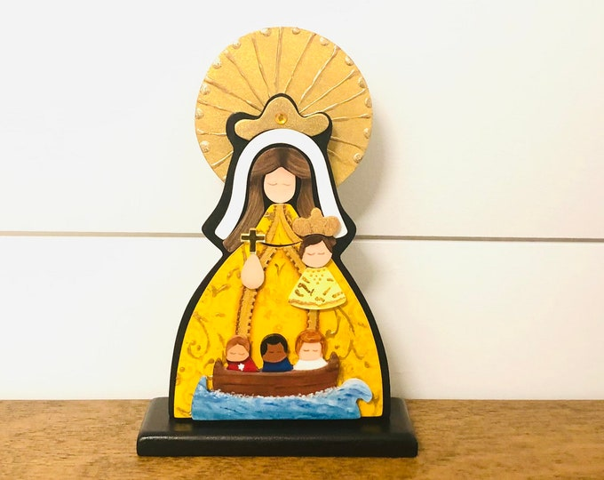 """Wooden Virgin Mary  """"Our Lady of Charity """" -  Virgen de la Caridad del Cobre hand painted with pointillism technique. Aprox 8 inches"""