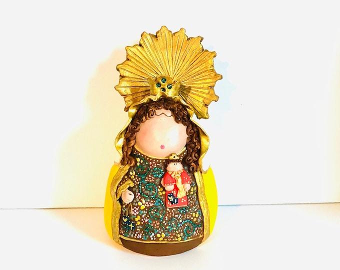 Clay Figure  Our Lady of Mount Carmel - Virgen del Carmen handmade in Venezuela.