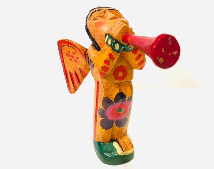 Yellow Trumpet Small  ANGEL. Wooden Hand Carved Handmade and painted by Guatemalan Artist. Aprox 6.5 inches