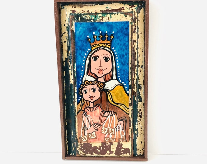 Unique Retablo  Our Lady of Carmel Virgin Mary . Handmade Wood painted by Venezuelan Artist.