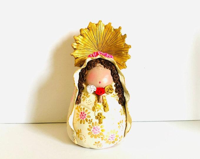 Clay Figure of Mystical Rose Virgin Mary  - Virgen de la Rosa Mistica handmade in Venezuela.
