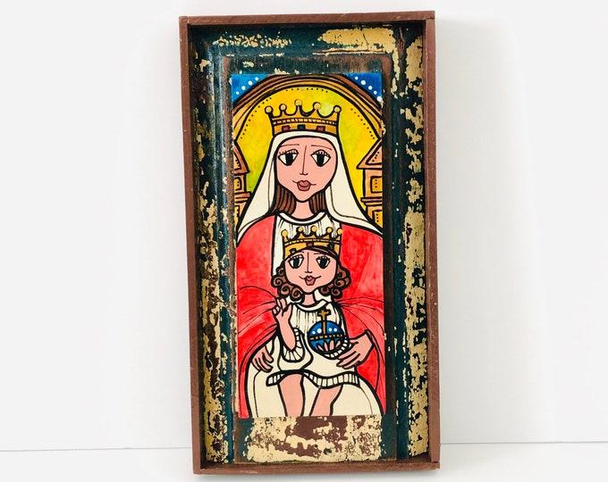 Unique Retablo  Coromoto  Virgin Mary . Handmade Wood painted by Venezuelan Artist.