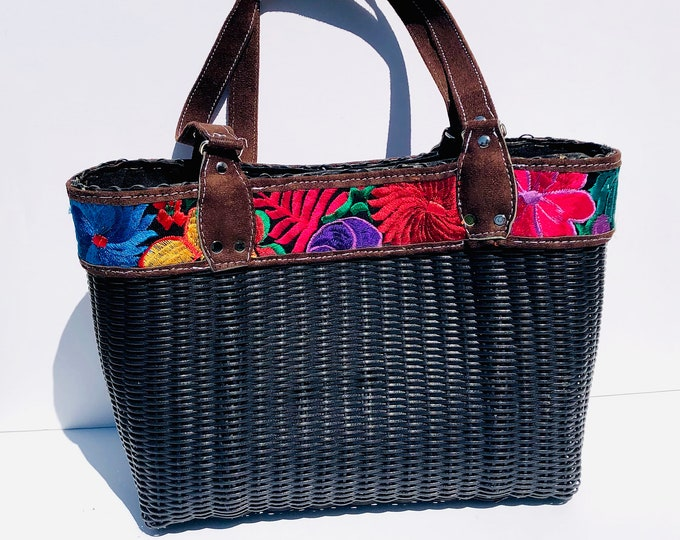 Black  HUIPIL Embroidered Tote bag, woven plastic  Huipil, Faux leather. Handmade in Guatemala