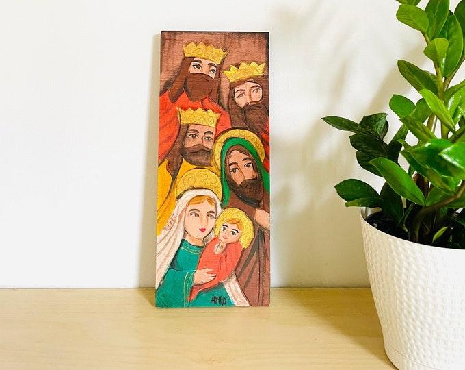 Holy Family . Retablo Handmade Wood painted by Venezuelan Artist.