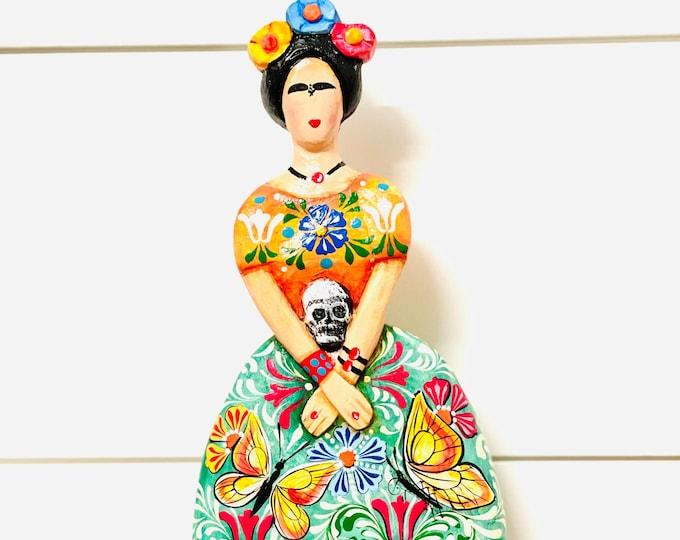 Frida Kahlo handmade in Venezuela . Wood Statue. 10  inches x 5 inches