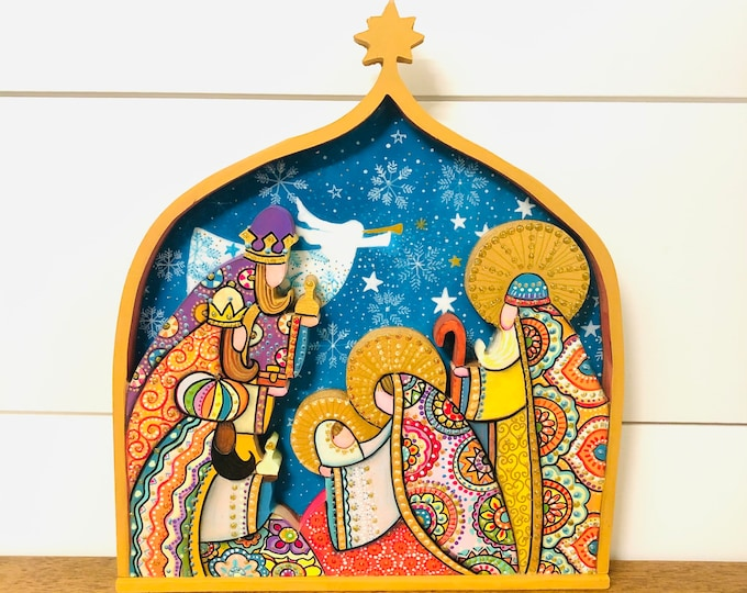 Nativity set Nicho. Handmade and Full of details, wood carving. Hecho en Venezuela.