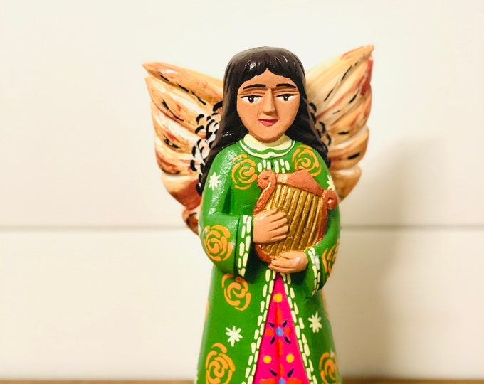 Medium Wood Angel - Green. Handmade and Hand-painted in Venezuela. Spectacular details. Aprox 9'