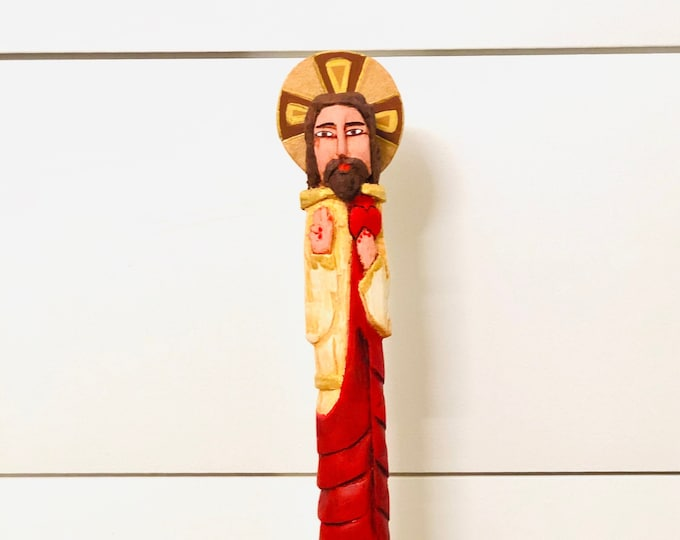 Sacred Heart of Jesus - Wooden Hand Carved Handmade and paint by Venezuelan artist.