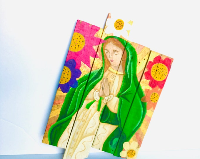 Our Lady of Guadalupe Retablo. Hand painted by Venezuelan artist. Reclaimed Wood.