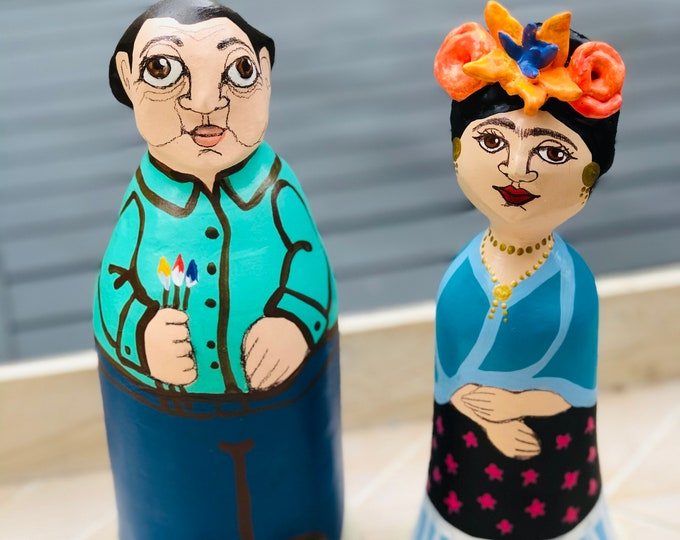 Papier-mâché Frida Kahlo and Diego Rivera (2 Pieces)  figurines   handmade by a Venezuelan artist . 8  inches aprox