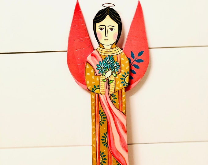 Wood Saint Gabriell Archangel   by JC .  Handmade and Hand-painted in Venezuela. Spectacular details. Aprox 12' (Wall Hanging)