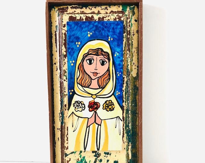 Unique Retablo  Mystic Rose Virgin Mary . Handmade Wood painted by Venezuelan Artist.