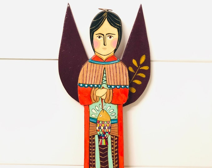 Wood Saint Raphael Archangel   by JC .  Handmade and Hand-painted in Venezuela. Spectacular details. Aprox 12' (Wall Hanging)