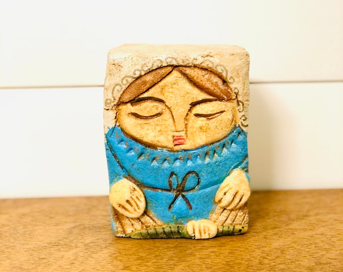 Virgen Milagrosa - Miraculous Virgin Mary . Stone conglomerate Handmade and painted by Venezuelan Artist. 5.5  x  4 inches