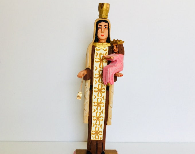 Our Lady of Carmel - Virgen del Carmen .Handmade and paint by Venezuelan artist. 14 Inches aprox
