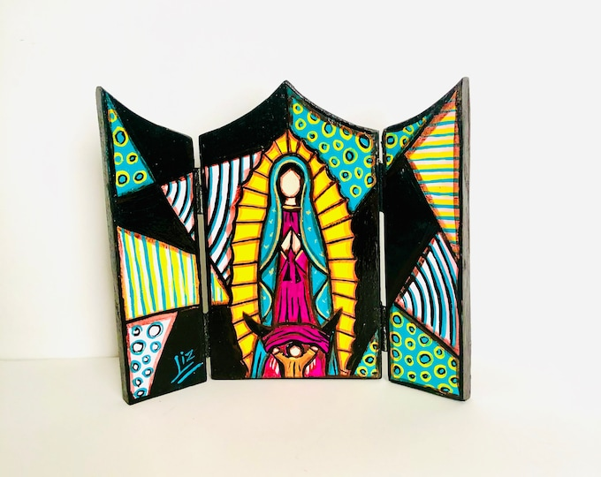 """Wood triptych with Virgen  de  Guadalupe  -Our Lady of Guadalupe  """"Retablo"""" . Handmade and Hand painted by venezuelan artist."""