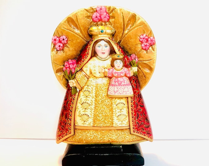 Virgen de la  Candelaria or Our Lady of Candelaria. Wood Art Handmade and painted by Venezuelan artist.