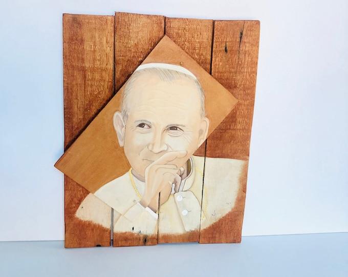 Pope John Paul II Retablo. Hand painted by Venezuelan artist. Reclaimed Wood.