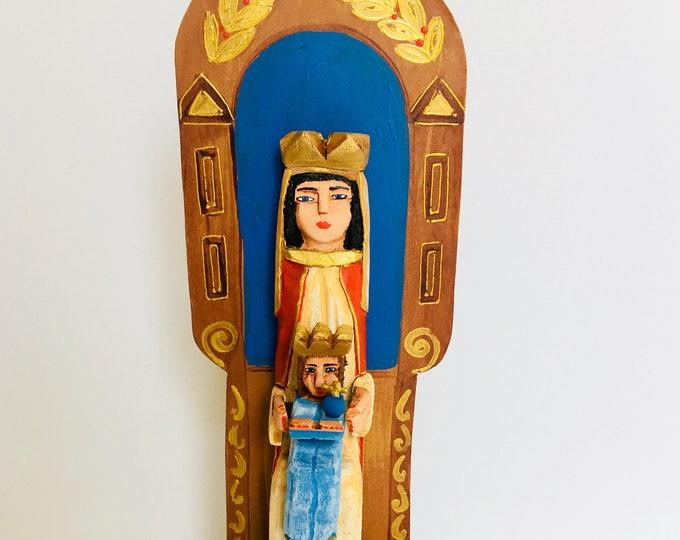Our Lady of Coromoto - Nuestra Senora de Coromoto Handmade and paint by Venezuelan artist. 14  Inches aprox
