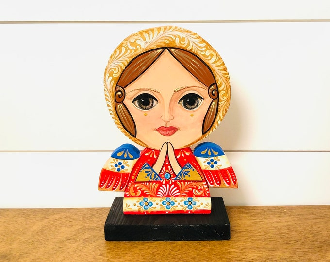 Wood Angel  Big Eye - Blue Red . Handmade and Hand-painted in Venezuela. Spectacular details. Aprox 9'