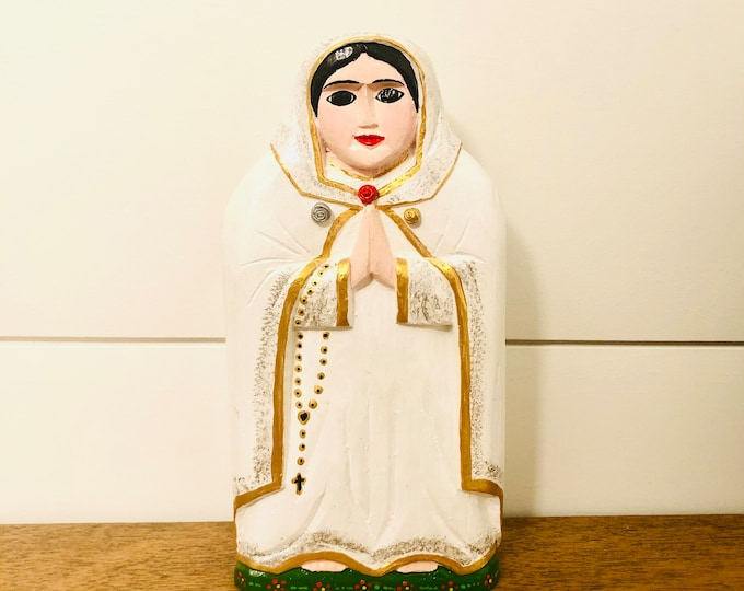 Solid  Wood Mystical Rose Virgin Mary. Handmade and Hand-painted in Venezuela. Spectacular details. Aprox 8' by 4'