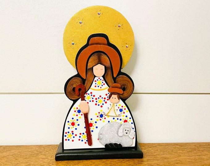Wooden Virgen de la Divina Pastora/ The Divine Shepherdes hand painted with pointillism technique. Aprox 8 inches