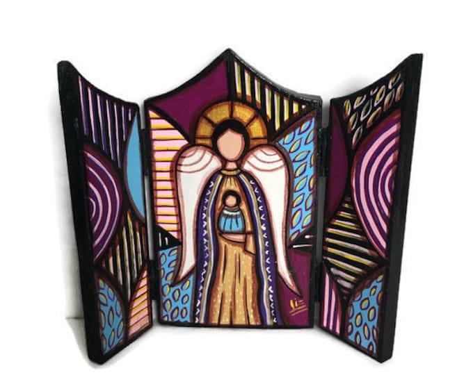 """Wood triptych with Saint Joseph Archangel  """"Retablo"""" . Handmade and Hand painted by venezuelan artist."""