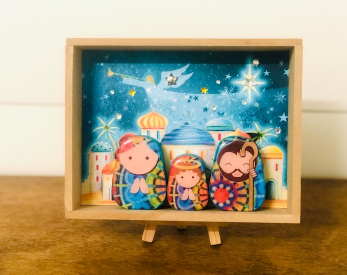 Nativity in a BOX #8    .Beautiful  Nativity  Scene with colorful wood box handmade by Venezuelan artist. 3 pieces + box + Stand + Stand