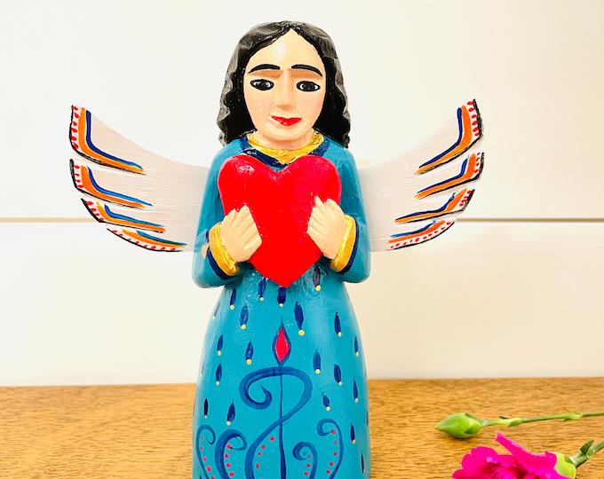 Medium Wood Angel -blue Handmade and Hand-painted in Venezuela. Spectacular details. Aprox 9'