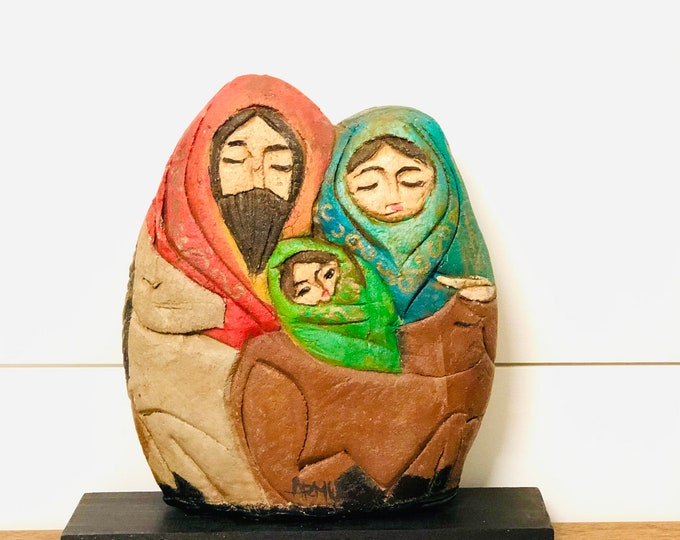 The Holy Family solid sand/rock  piece.  Handmade and painted by Venezuelan Rustic and Unique style.