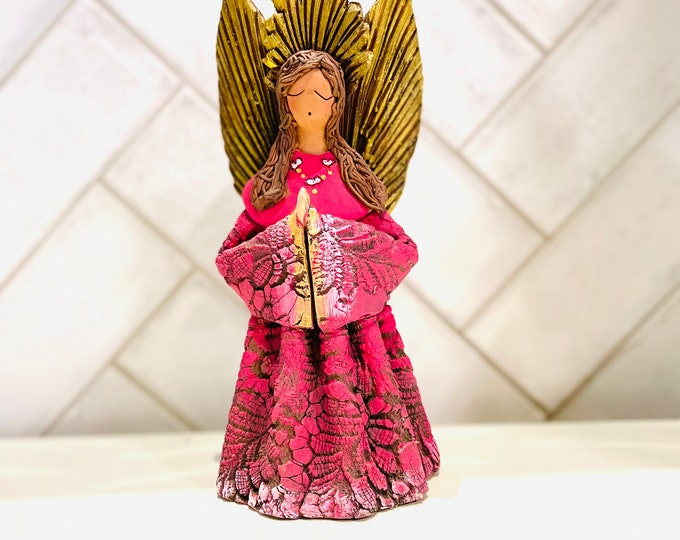 Clay Fucsia   ANGEL   Handmade and paint by Venezuelan artist. 9  inches Tall Size