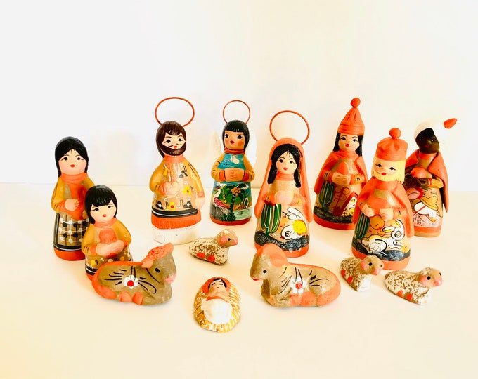 New Mexican Folk Nativity 14 pieces Orange - Gold 4' tall aprox