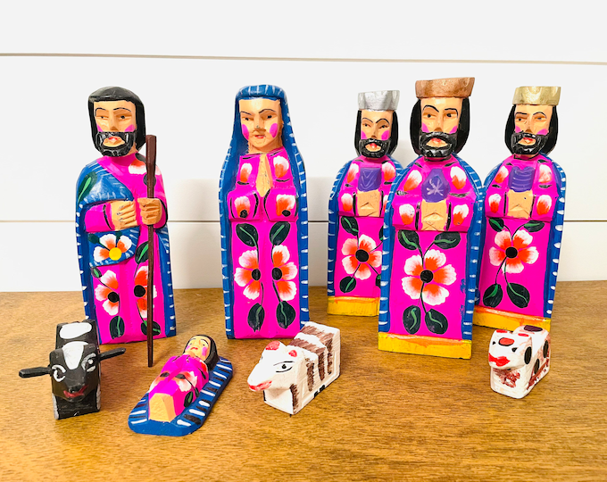 GRANDE NATIVITY SET,  Very  Colorful Holy Family, Wood Handmade in Guatemala
