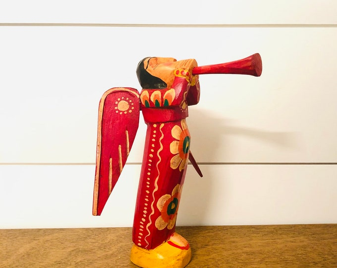 Collaboration Fair Trade Group from Guatemala.  Old Red Trumpets ANGEL  Hand Carved Handmade and painted by Guatemalan Artist.