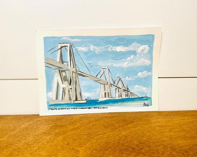 Puente sobre el Lago de Maracaibo   By G. Armijo. Original Paint. Unframe.