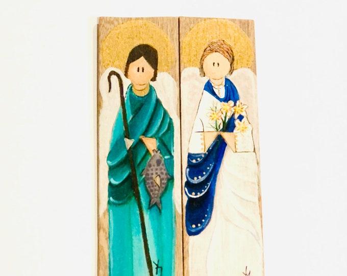 Mini Retablo  Saint Gabriel and Saint Raphael Archangel  Hand painted in Venezuela