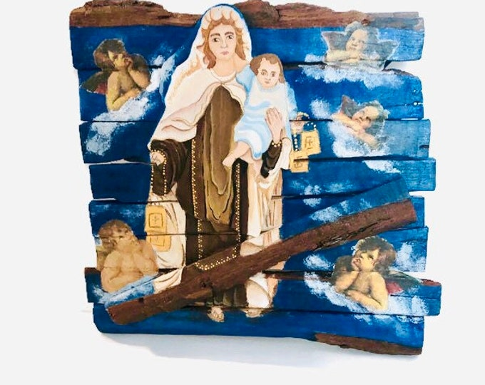 Retablo Wood Art Our Lady of Carmel - Virgen del Carmen hand painted  by Venezuelan artist. Spectacular details. Aprox 10 x 10'inches