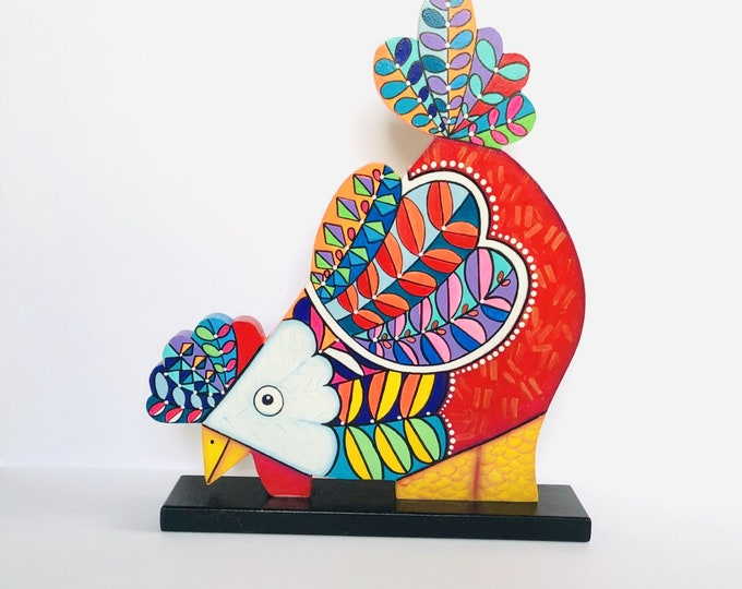 Wood Chicken Figurine Large and Modern with vibrant colors . Handmade in Venezuela 19 x 11 inches aprox