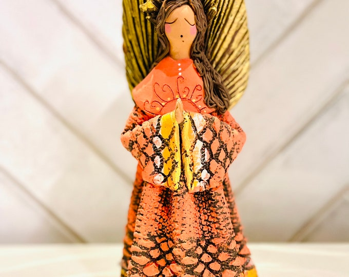 Clay Orange ANGEL   Handmade and paint by Venezuelan artist. 7  inches Tall Size