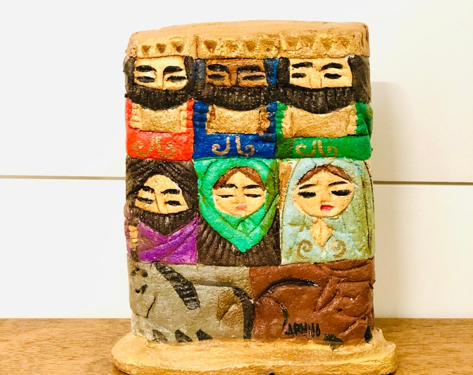 Totem Nativity in one solid sand/rock  piece. Hand painted by Venezuelan artist. Rustic and Unique style aprox 10 x 6 inches