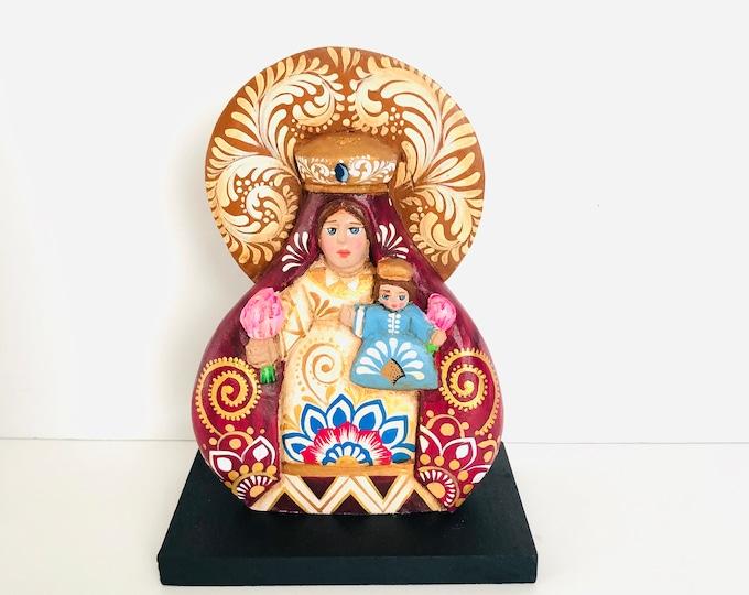 Virgen de la  Candelaria or Our Lady of Candelaria (Medium) Wood Art Handmade and painted by Venezuelan artist.