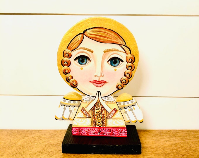 Wood Angel  Big Eye - Gold  . Handmade and Hand-painted in Venezuela. Spectacular details. Aprox 9'