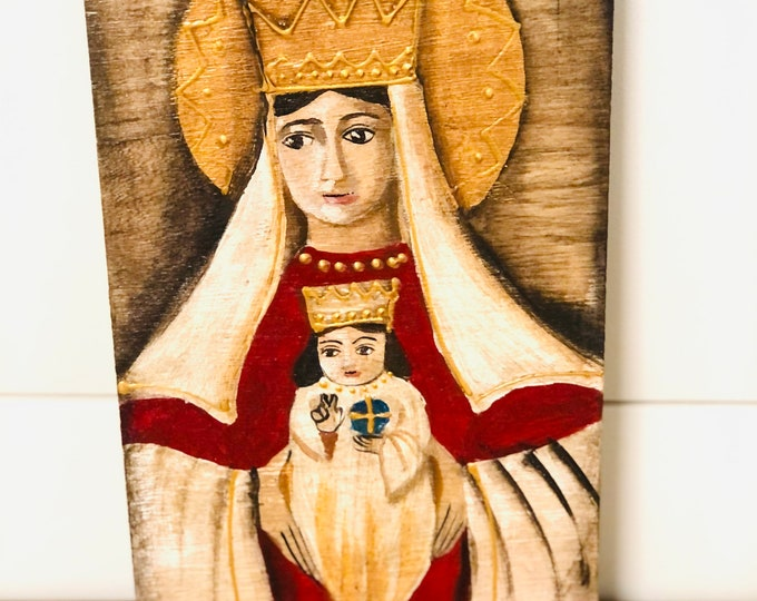 Retablo Our Lady of Coromoto -  Virgen de Coromoto. Handmade Wood painted by Venezuelan Artist.