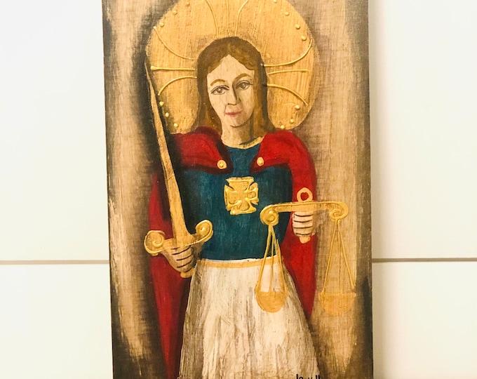 Retablo Saint Michael Archangel.  Handmade Wood painted by Venezuelan Artist.