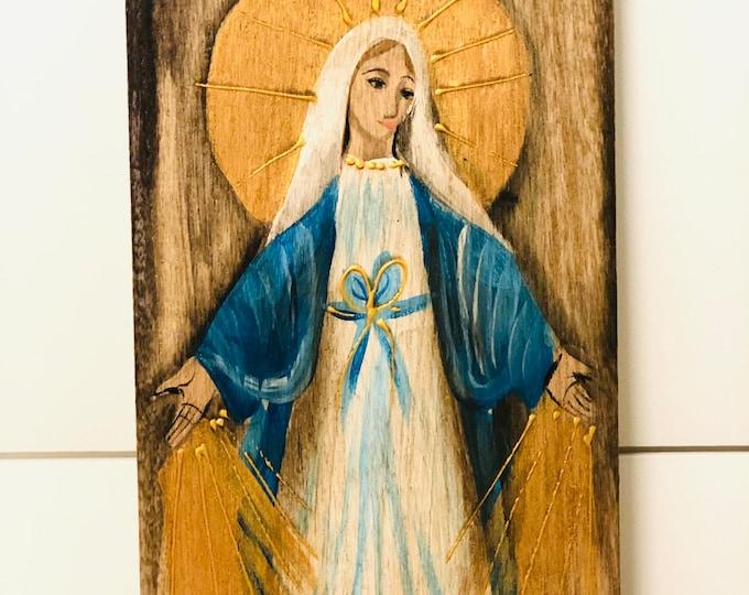 Retablo Virgen Milagrosa - Miraculous  Virgin Mary Retablo  Handmade Wood painted by Venezuelan Artist.